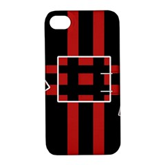 Red and black geometric pattern Apple iPhone 4/4S Hardshell Case with Stand