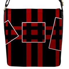 Red and black geometric pattern Flap Messenger Bag (S)