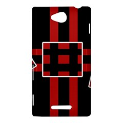 Red and black geometric pattern Sony Xperia C (S39H)