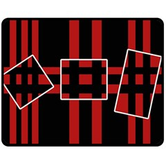 Red and black geometric pattern Double Sided Fleece Blanket (Medium)