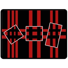 Red and black geometric pattern Double Sided Fleece Blanket (Large)