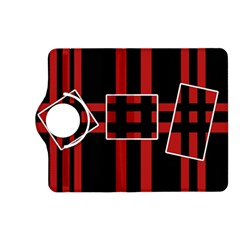 Red and black geometric pattern Kindle Fire HD (2013) Flip 360 Case