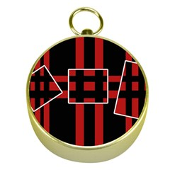 Red and black geometric pattern Gold Compasses