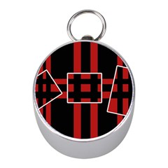 Red and black geometric pattern Mini Silver Compasses