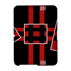 Red and black geometric pattern Amazon Kindle Fire (2012) Hardshell Case