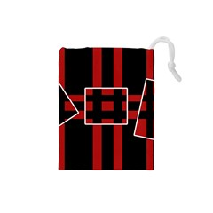 Red and black geometric pattern Drawstring Pouches (Small)