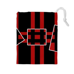 Red and black geometric pattern Drawstring Pouches (Large)
