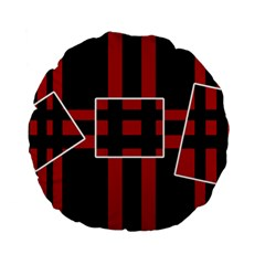 Red and black geometric pattern Standard 15  Premium Flano Round Cushions