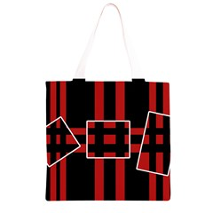Red and black geometric pattern Grocery Light Tote Bag