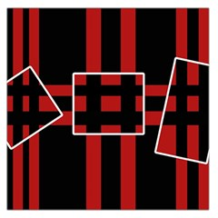 Red and black geometric pattern Large Satin Scarf (Square)