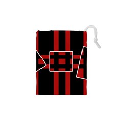 Red and black geometric pattern Drawstring Pouches (XS)