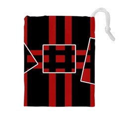 Red and black geometric pattern Drawstring Pouches (Extra Large)