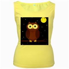 Cute owl Women s Yellow Tank Top