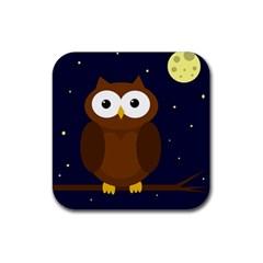 Cute Owl Rubber Coaster (square)