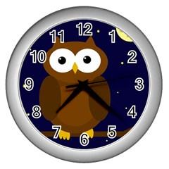 Cute owl Wall Clocks (Silver)