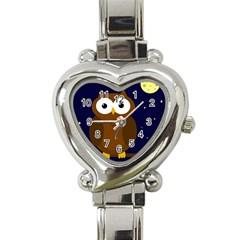 Cute owl Heart Italian Charm Watch