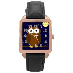 Cute owl Rose Gold Leather Watch