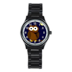 Cute owl Stainless Steel Round Watch