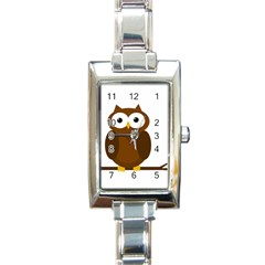 Cute transparent brown owl Rectangle Italian Charm Watch