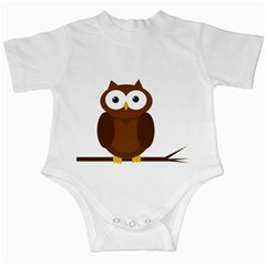 Cute transparent brown owl Infant Creepers