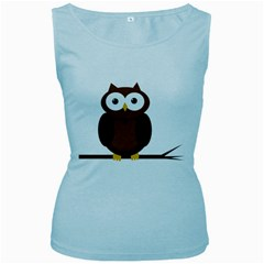 Cute transparent brown owl Women s Baby Blue Tank Top