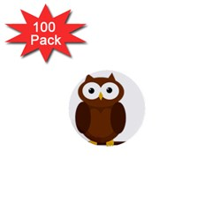 Cute transparent brown owl 1  Mini Buttons (100 pack)
