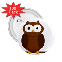 Cute transparent brown owl 2.25  Buttons (100 pack)