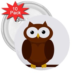 Cute transparent brown owl 3  Buttons (10 pack)