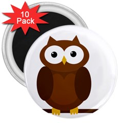Cute transparent brown owl 3  Magnets (10 pack)