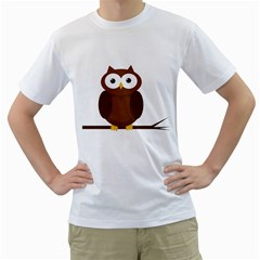 Cute transparent brown owl Men s T-Shirt (White) (Two Sided)