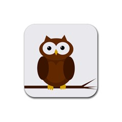 Cute Transparent Brown Owl Rubber Coaster (square)