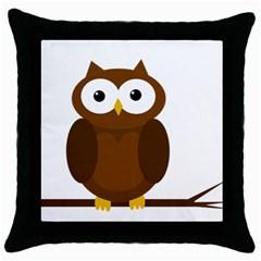 Cute transparent brown owl Throw Pillow Case (Black)
