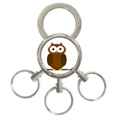 Cute transparent brown owl 3-Ring Key Chains