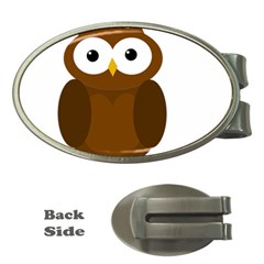 Cute transparent brown owl Money Clips (Oval)