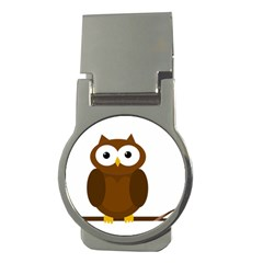Cute transparent brown owl Money Clips (Round)