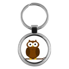 Cute transparent brown owl Key Chains (Round)