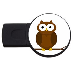 Cute transparent brown owl USB Flash Drive Round (2 GB)