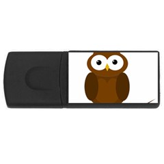Cute transparent brown owl USB Flash Drive Rectangular (1 GB)