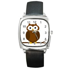 Cute transparent brown owl Square Metal Watch