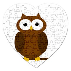 Cute transparent brown owl Jigsaw Puzzle (Heart)