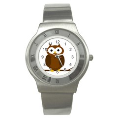 Cute transparent brown owl Stainless Steel Watch