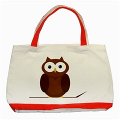 Cute transparent brown owl Classic Tote Bag (Red)