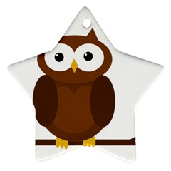 Cute transparent brown owl Star Ornament (Two Sides)