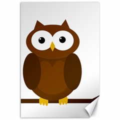 Cute transparent brown owl Canvas 12  x 18