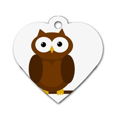 Cute transparent brown owl Dog Tag Heart (Two Sides)