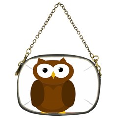 Cute transparent brown owl Chain Purses (One Side)