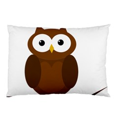 Cute transparent brown owl Pillow Case