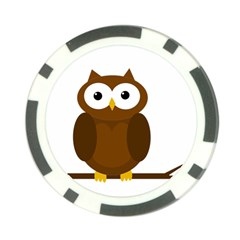 Cute transparent brown owl Poker Chip Card Guards (10 pack)