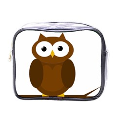 Cute transparent brown owl Mini Toiletries Bags