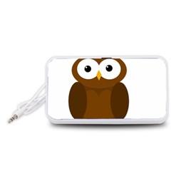 Cute transparent brown owl Portable Speaker (White)